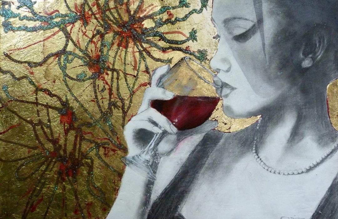 16 opera di Oria Strobino - titolo VIBRAZIONI GOLOSE-VINO - cm 40x60 - grafite, glinner, foglia metallica, gesso su tavola