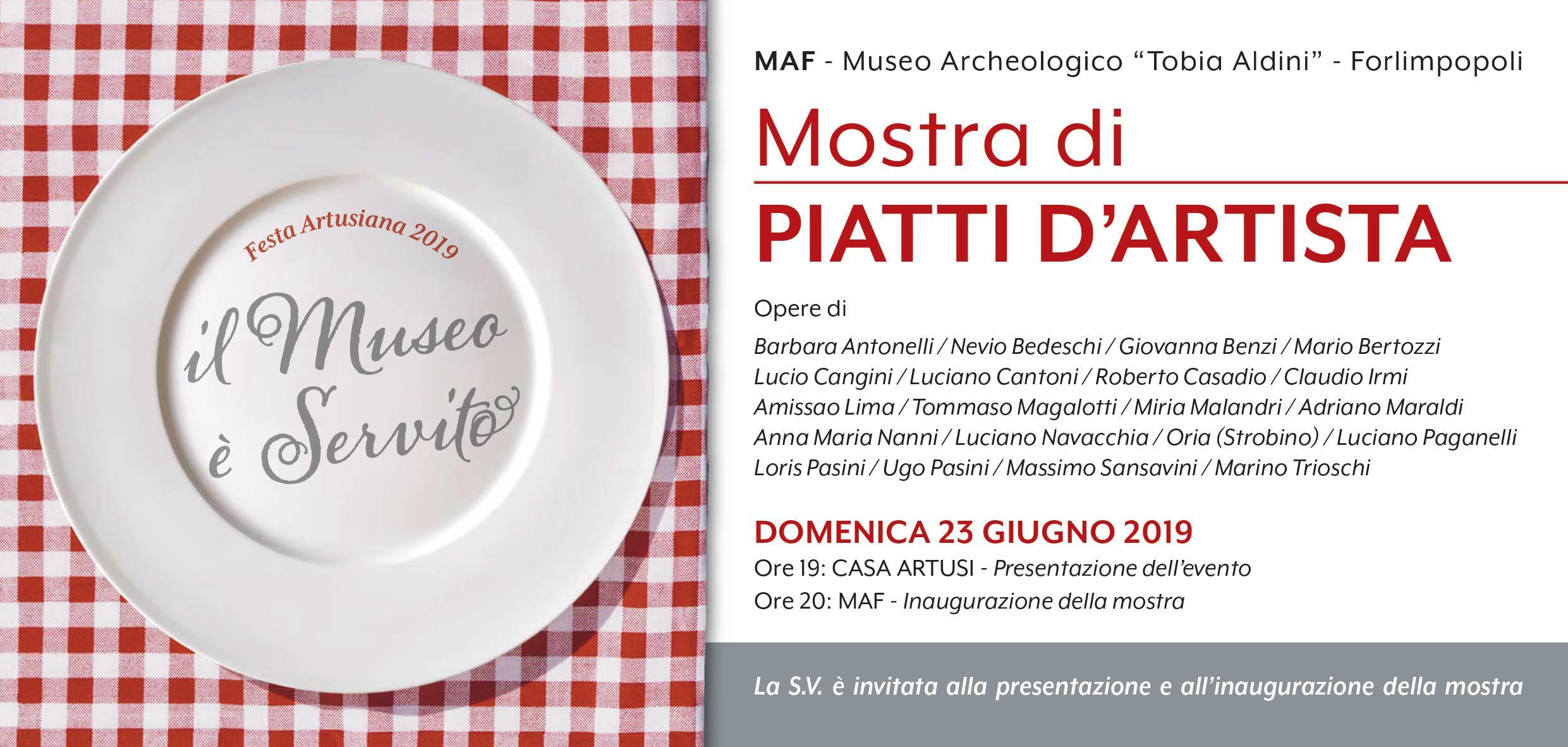 invito Mostra Piatti d'Artista - fronte - MAF in Festa Artusiana 2019